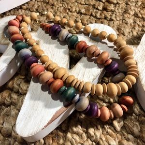 Vintage Wooden Bead Chunky Necklaces Lot of 2!